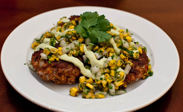 DSC 6343 meatless monday | black bean cakes with corn salsa & avocado cream