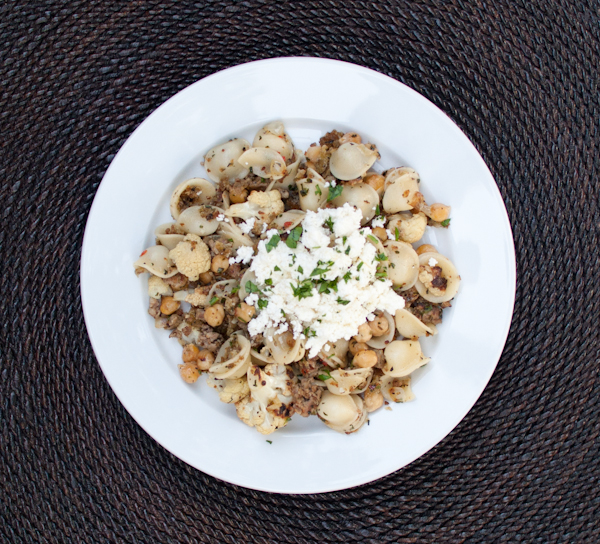 DSC 7011 orecchiette with roasted cauliflower, sausage, chickpeas & fresh ricotta