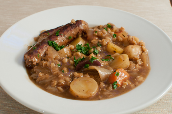 beer braised sausages with barley & root vegetables - life with the ...