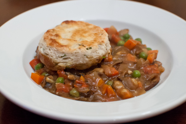 vegetable pot pie with feta scallion biscuits - life with the lushers