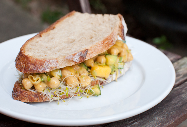 curried chickpea salad sandwiches - life with the lushers