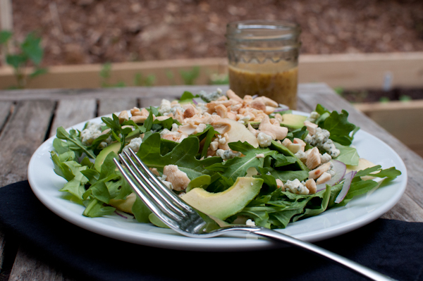 DSC 9258 arugula, avocado, apple salad with red onion, blue cheese, Marcona almonds & maple mustard vinaigrette