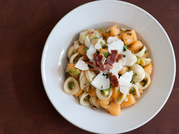 melon and pancetta pasta with ricotta salata