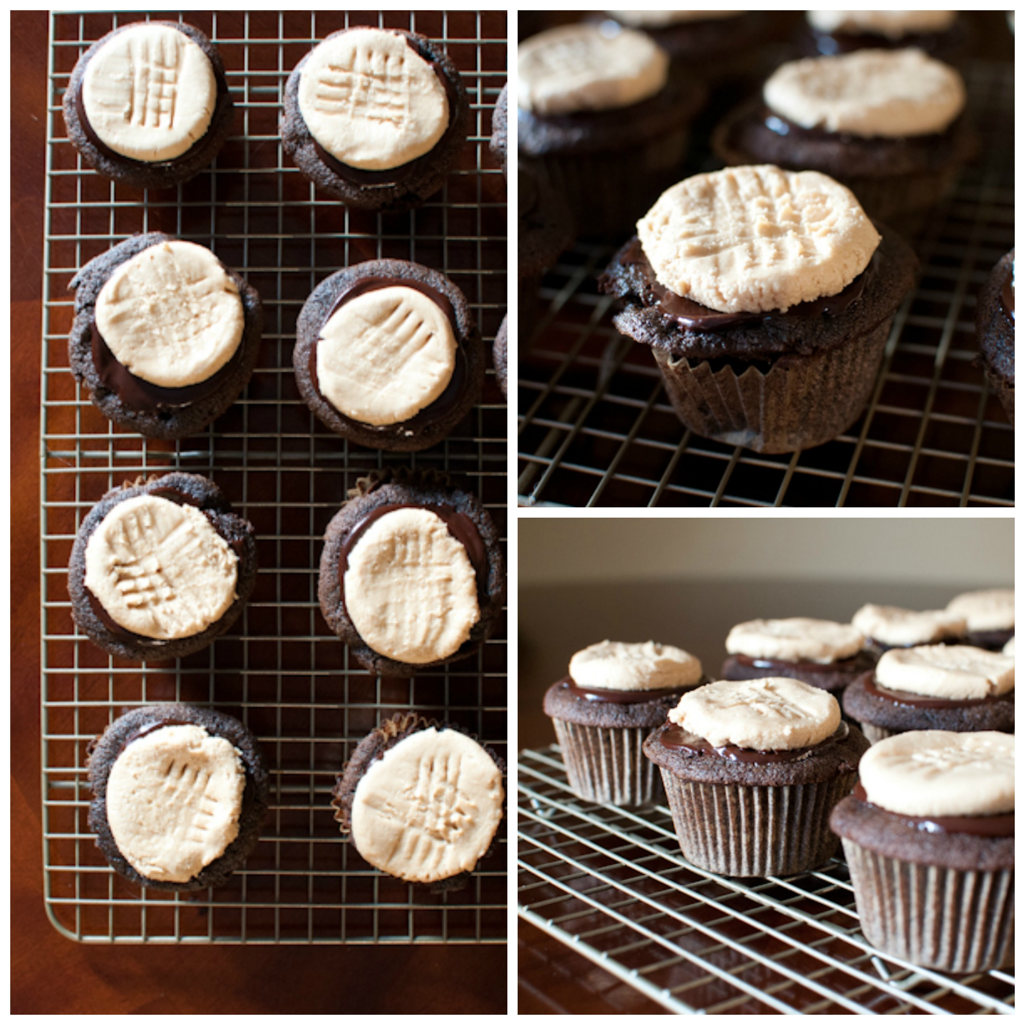 chocolate cupcakes with peanut butter cookie icing